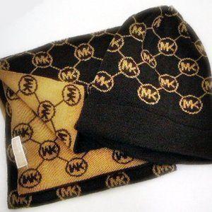 MK Logo Muffler Scarf Hat 2  Piece Set Mens/Womens